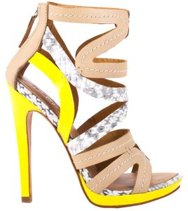 L.A.M.B. Gladiator Yellow and Snakeskin Pumps