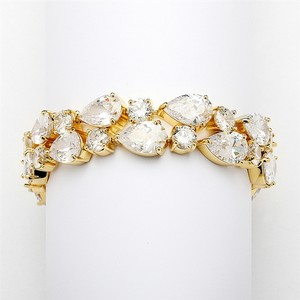Mariell Red Carpet Bold Cz Pears Bridal Statement Bracelet In 14k Gold Plating 4128b-g-6