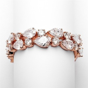 Mariell Red Carpet Bold Cz Pears Bridal Statement Bracelet In Rose Gold 4128b-rg-6