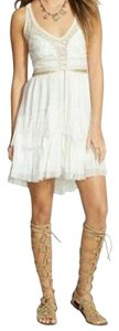 Free People Babydoll Halter Leather Lace Up Dress