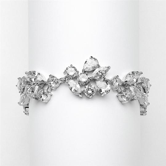 Mariell Top Selling Mosaic Shaped Cz Wedding Bracelet In Silver Rhodium - Petite Size 4129b-s-6