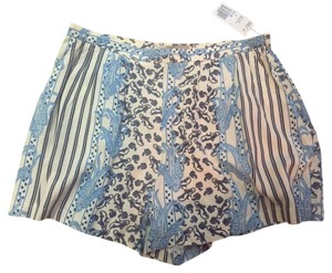 Forever 21 Flowy Soft Side Zip Dress Shorts Blue & White