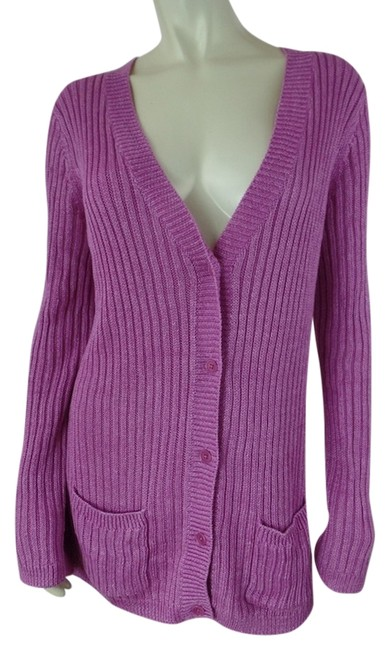Talbots Linen Longsleeve Button Down Grandfather Medium Heacy Stretchy Knit See Thru Sweater Cardigan
