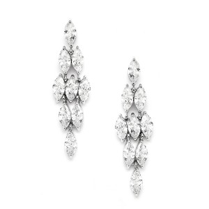 Mariell Silver Marquis Clusters Cubic Zirconia Drop 4145e Earrings