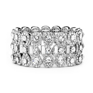 Mariell Silver Ravishing Stretch with Crystal Baguettes 4155b Bracelet