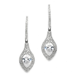 Mariell Art Deco Statement Earrings With Bold Pear & Pave Cz 4176e