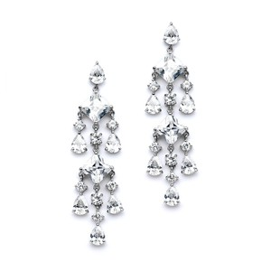 Mariell Stunning Geometric Cubic Zirconia Chandelier Earrings 4177e