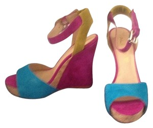 ALDO Suede Cork Heel Bright Pink and Blue with Green straps Wedges