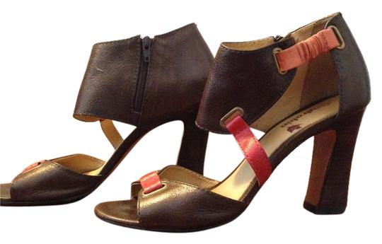 Farylrobin Leather Open Toe Brown/Pink Sandals
