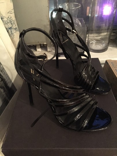 Brian Atwood Strappy Stiletto Sexy Black Patent Leather Sandals
