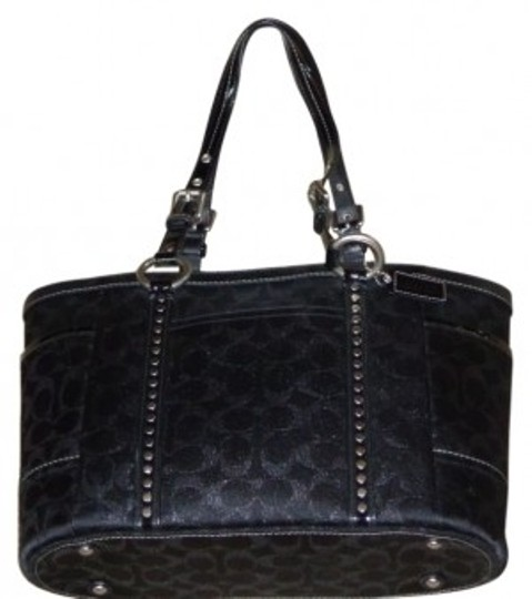 Preload https://item3.tradesy.com/images/coach-rare-signature-studded-gallery-black-metallic-canvas-tote-39922-0-0.jpg?width=440&height=440