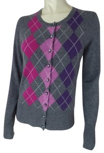 Apt. 9 Button Front Argyle Cashmere Soft Longsleeve Small Sweater Cardigan