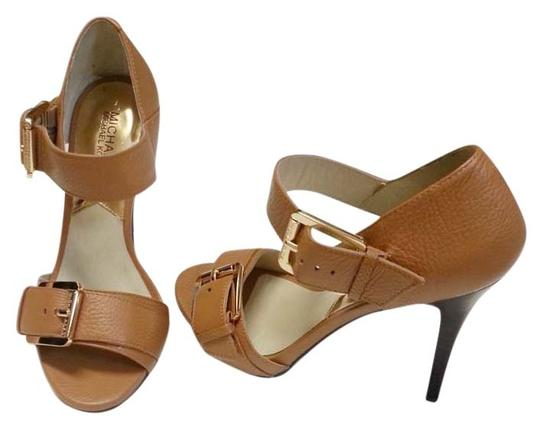 Michael by Michael Kors Gold Buckle Leather Stiletto Platform Hidden Platform New Night Out Date Night Strap Strappy Nude Tan Sandals