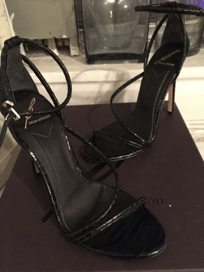 Brian Atwood Muted Black, snake skin embossed design Sandals