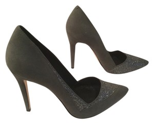 Alice + Olivia All Leather Stiletto Heels Gray suede Pumps