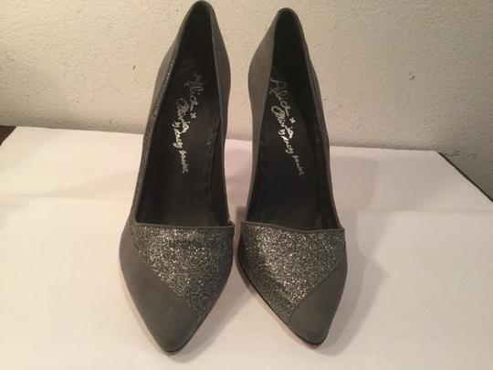 Alice + Olivia Stiletto Heels Gray suede all leather sparkling glitter Pumps