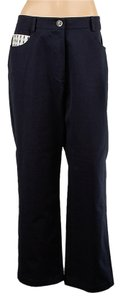 St. John Sport Cotton Casual Relaxed Pants Navy