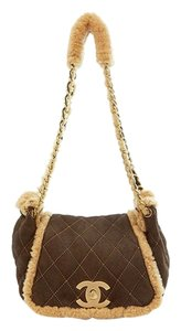 Chanel Shearling Quilted Suede Gold Hardware Shoulder Bag