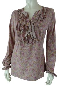 Ralph Lauren Medium Longsleeve Paisley Pintuck Pleats Ruffle Half Button Front Cotton Stretchy Knit Cony Chic Soft Thin Sweater