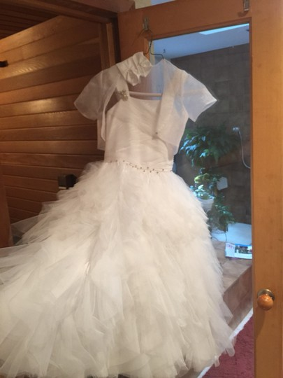 Bob Mackie White Lots Of Tooling and Probably Polyester Which Is What Most Are Made Of . Communion Confirmation Or Flower Girl Bridesmaid/Mob Dress Size 8 (M)