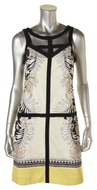Item - Ivory Multi Floral Print Casual Cocktail Dress Size 4 (S)