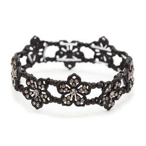 Mariell Black Diamond Filigree Flowers Stretch Bracelet For Prom Or Homecoming 4301b-bd