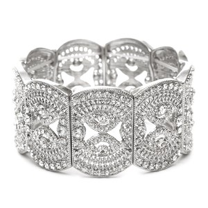 Mariell Art Deco Wedding Or Prom Filigree Crystal Stretch Bracelet 4302b-cr-s