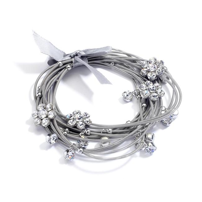 Item - Silver Piano Wire Stretch with Crystal Daisies and Ribbon Bow 4304b-s Bracelet