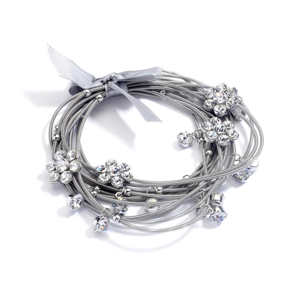 Mariell Silver Piano Wire Stretch with Crystal Daisies and Ribbon ...
