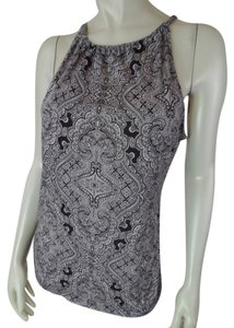 Ann Taylor Sleeveless Thin Stretchy Knit Pullover Peephole Sexy Tie Back Lyocell Medium Top Brown & Beige Art Deco
