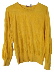 Krizia Vintage Yellow Unique Flower Sweater
