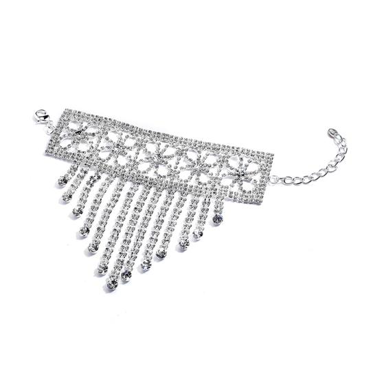 Mariell Silver Super Bling Cascading Hand with Rhinestone Fringe 4312b-s Bracelet