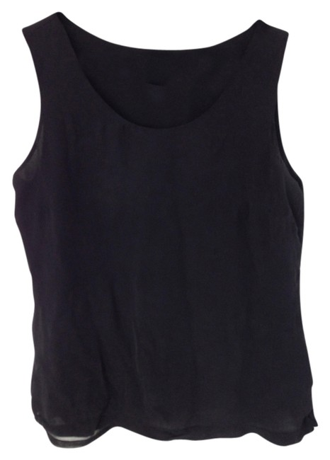Kate Hill Lord & Taylor Silk Polyester Top Black