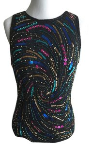 Laurence Kazar Vintage Sequin Silk Top Black