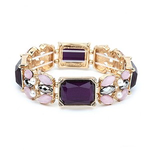 Mariell Purple Mixed Stone Stretch For Prom Or Bridesmaids 4331b-am-g Bracelet