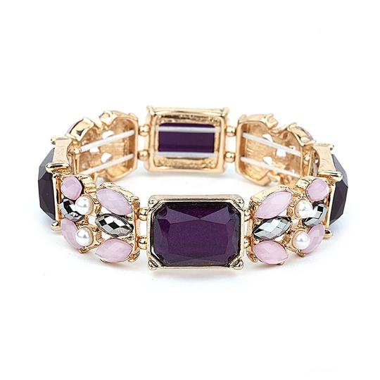 Mariell Urple Mixed Stone Stretch Bracelet For Prom Or Bridesmaids 4331b-am-g
