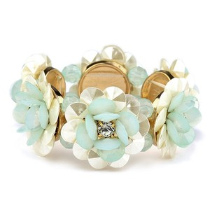 Mariell Pearlized Flower And Mint Stretch Bracelet For Weddings Or Prom 4332b-mnt-g