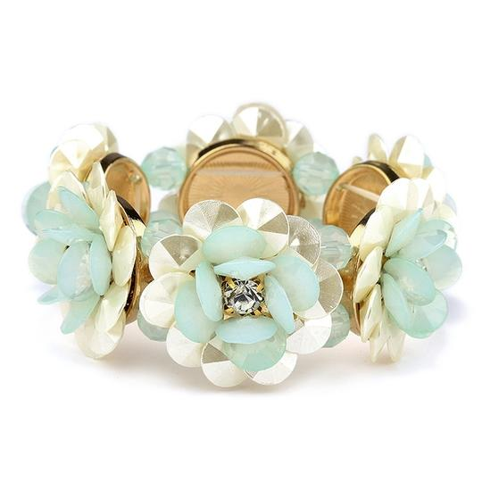 Mariell Mint Pearlized Flower and Stretch For Or Prom 4332b-mnt-g Bracelet