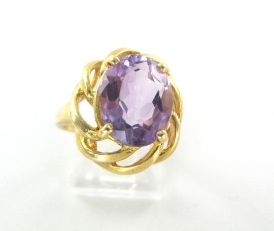 Other 18K SOLID YELLOW GOLD RING AMETHYST 6.5 GRAMS SZ 7.5 SEMI PRECIOUS STONE BAND