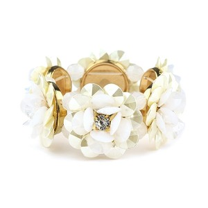 Mariell Pearlized Flower Stretch Bracelet For Weddings Or Prom 4332b-sc-g