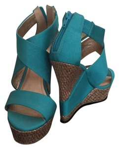 BCBG Paris Strappy Bamboo Style Teal Wedges