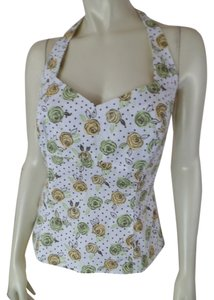 Ann Taylor Loft Stretch Size 8 Dot Retro White Yellow Green Floral Polka Dots Halter Top