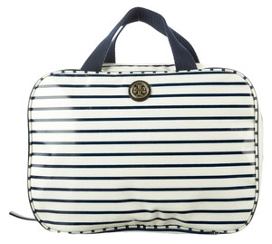 Tory Burch White blue stripe Tory Burch canvas cosmetic case