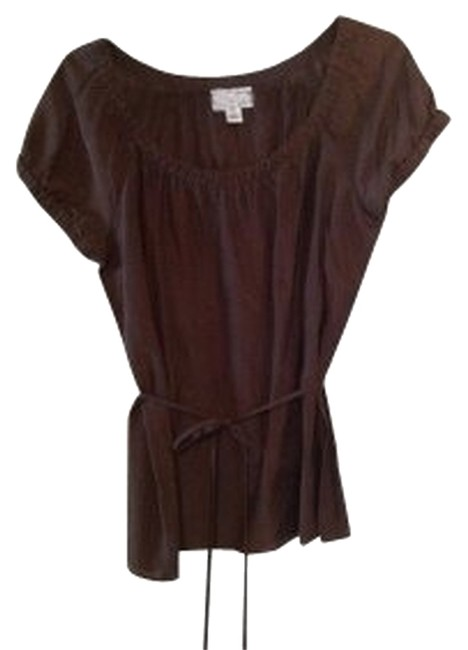 Preload https://item3.tradesy.com/images/ann-taylor-loft-brown-silk-cotton-blend-with-tie-at-the-waist-blouse-size-6-s-39937-0-0.jpg?width=400&height=650