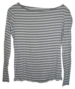 Garnet Hill T Shirt Gray and White Stripes