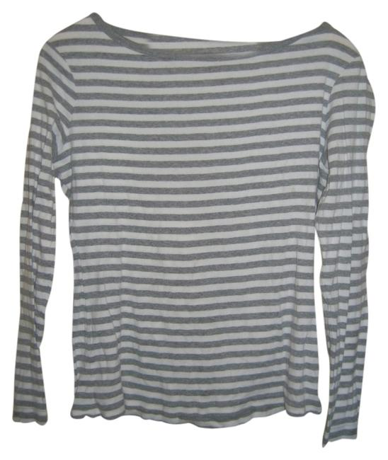 Garnet Hill Longsleeve T Shirt Gray and White Stripes