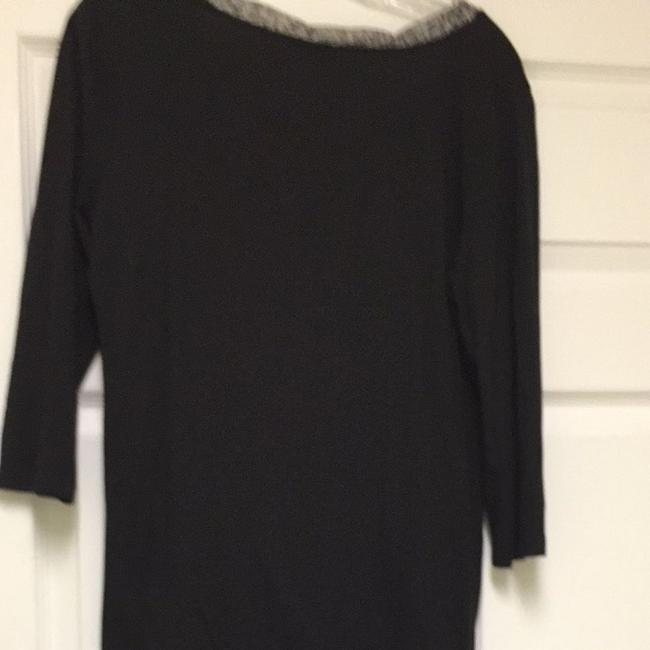 Ann Taylor Top Black With Print Bow