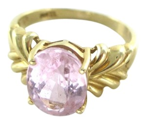 14K SOLID YELLOW GOLD RING PINK STONE ENGAGEMENT WEDDING BAND HALLMARK SOLITAIRE