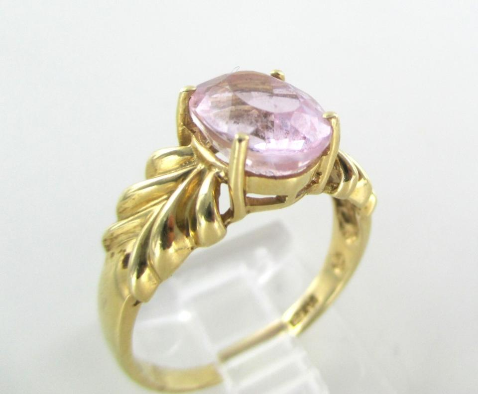 Gold 14k Solid Yellow Pink Stone Engagement Wedding Band Hallmark Solitaire Ring