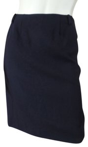 DKNY Wool Thin Stretchy Pockets Zip Slit Straight Sexy Unlined Skirt Black